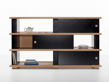 Modular steel and wood bookcase BLOCK | Bookcase