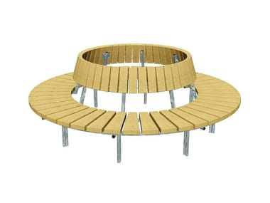 Round wooden Bench with back BLOCK | Round Bench