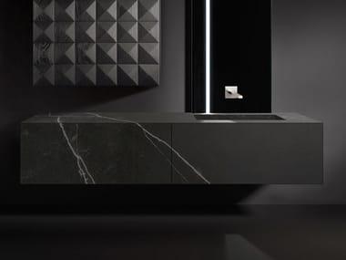 Mobile lavabo sospeso in Dekton® con cassetti BLOCK VANITY
