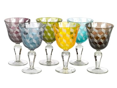 Sandblasted glass glasses set BLOCKS | Glasses set