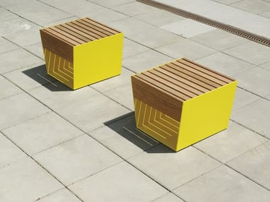Illuminated solid wood chair BLOCQ | Outdoor chair