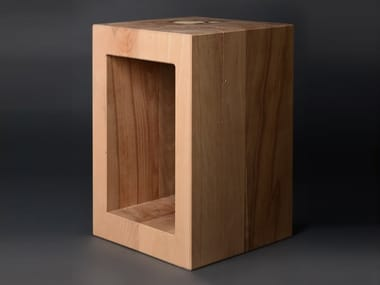 Beech stool or side table with storage compartment BLOK#04