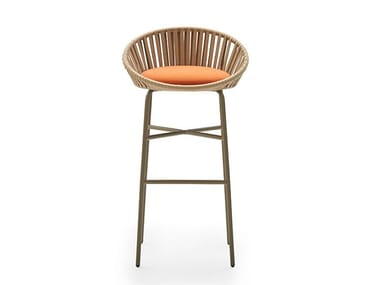 Painted metal stool with integrated cushion BLOOM E