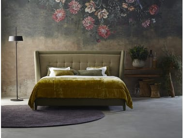 Upholstered fabric bed double bed with high headboard BLOOM