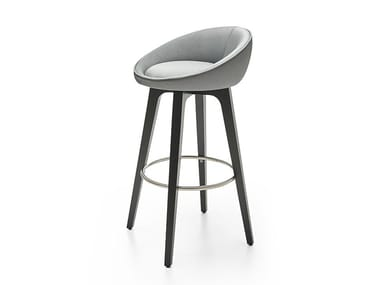Leather stool with footrest BLOOM WA