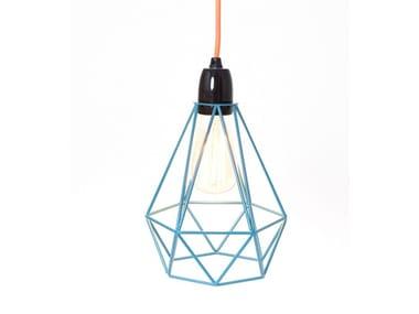 Lampada a sospensione / lampada da tavolo in metallo BLUE CAGE ORANGE FABRIC WIRE