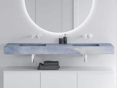 Double wall-mounted washbasin with integrated countertop BLUE MACAUBA C2 | Double washbasin
