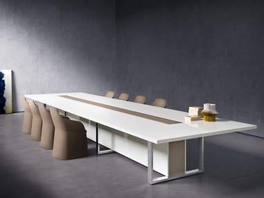 Lacquered rectangular wooden meeting table with cable management BOARD | Lacquered meeting table