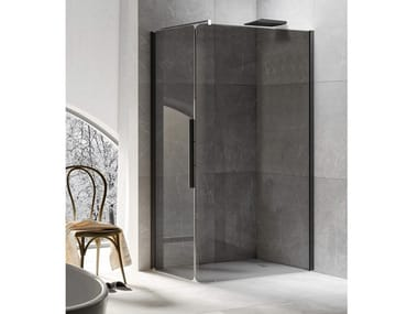 Corner shower cabin with hinged door BOBOX A+AB
