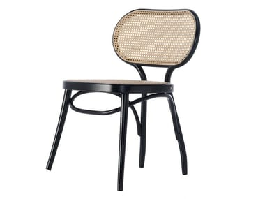 Steam-bent beech chair with woven cane backrest BODYSTUHL