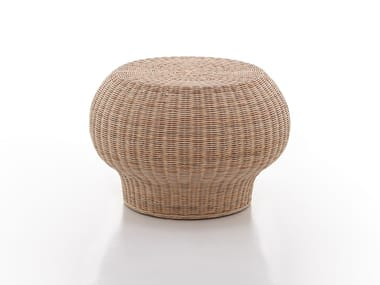 Low round woven wicker coffee table BOLLA 10