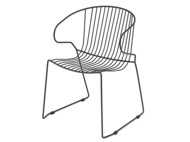 Sled base powder coated steel chair BOLONIA | Chair with armrests
