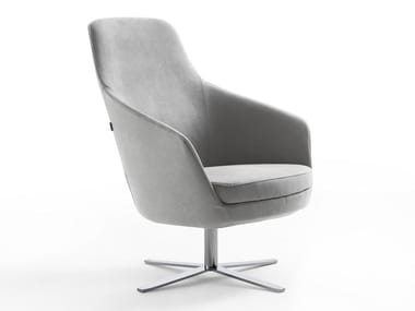 Leather armchair with 4-spoke base with armrests BOMBAY