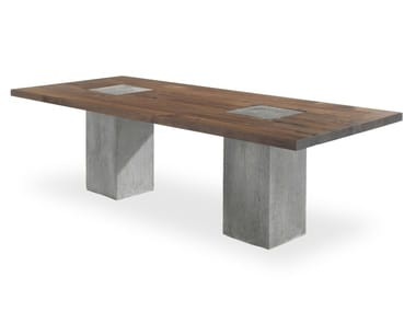 Rectangular solid wood and concrete table BOSS EXECUTIVE CONCRETE