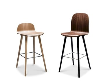 Wood veneer restaurant chair with footrest BOSTON BAR