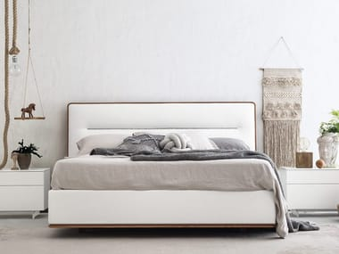 Double bed with upholstered headboard BOSTON