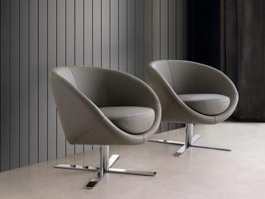 Swivel easy chair with 4-spoke base BOULE | Swivel easy chair