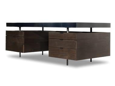 Bureau rectangulaire en bois avec tiroirs BOURGEOIS | Bureau