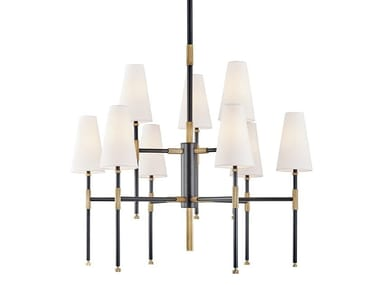 Metal chandelier with linen lampshade BOWERY