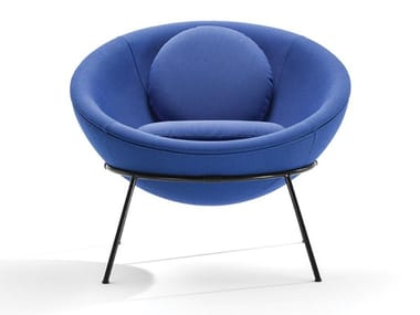 Leather or fabric armchair BOWL CHAIR