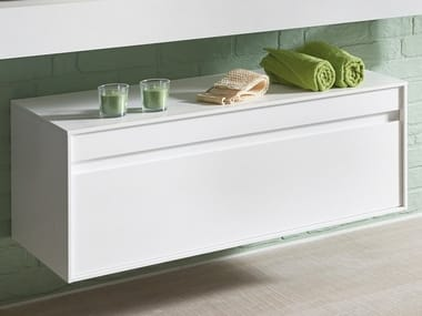Suspended wooden bathroom cabinet with drawers BOX | Bathroom cabinet