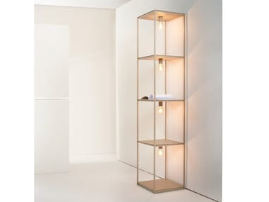 Iron bookcase with built-in lights BOX | Bookcase