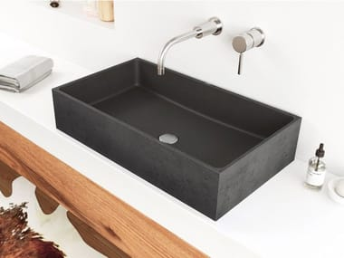 Countertop rectangular concrete washbasin BOX