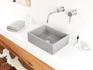 Countertop rectangular concrete handrinse basin BOX MINI