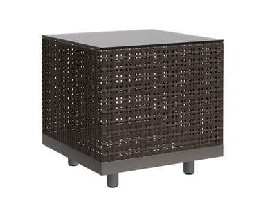 Square JanusFiber® garden side table BOXWOOD
