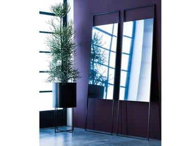 Freestanding rectangular framed metal mirror BRAME