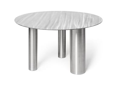 Low round stainless steel coffee table BRANDT CS1 | Low coffee table