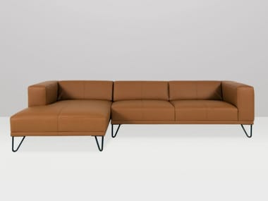 3 seater leather sofa with chaise longue BRASSEUR