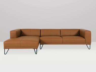Sofá 3 plazas de cuero con chaiselongue BRASSEUR