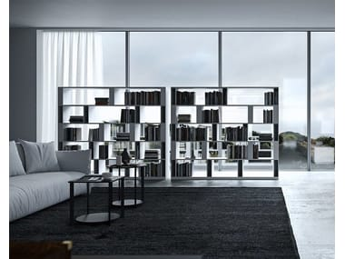 Open double-sided wooden bookcase BRERA