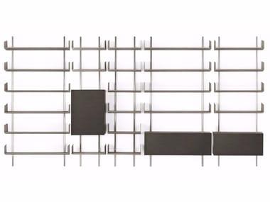 Wall-mounted modular wooden bookcase BRERA
