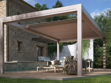 Wall-mounted pergola with sliding cover BRERA P | Wall-mounted pergola