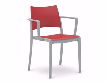 Plastic chair with armrests BREZZA | Chair with armrests