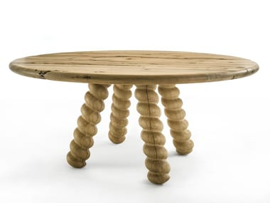 Round briccola wood table BRIC