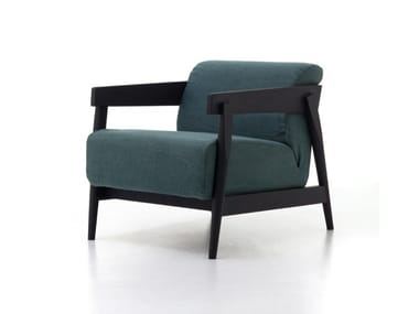 Upholstered fabric armchair with armrests BRICK 305
