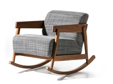 Rocking upholstered fabric armchair with armrests BRICK 307