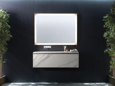 Wall-mounted vanity unit with mirror BRICK