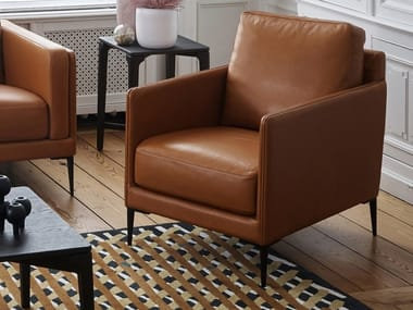 Leather easy chair with armrests BRIDGE AUTEUIL