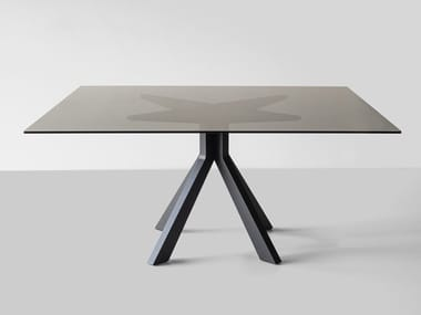 Square wood and glass dining table BRIDGE BLACK