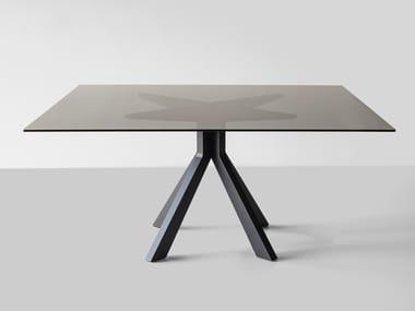 Tavolo da pranzo quadrato in legno e vetro BRIDGE BLACK