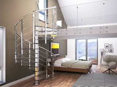 Glass and Stainless Steel Spiral staircase BRILLIA