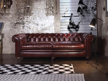 Exceptionnel Tufted Leather Sofa With Casters BRITISH | Leather Sofa