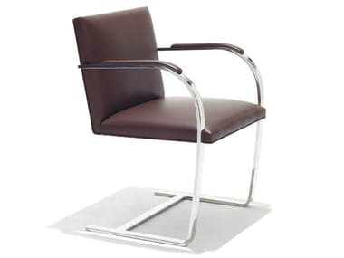 Cantilever upholstered chair with armrests BRNO FLAT