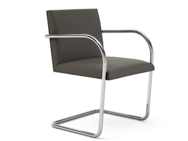 Cantilever upholstered chair with armrests BRNO TUBULAR