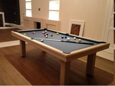 Rectangular solid wood pool table BROADWAY