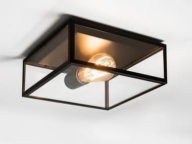 Lampada da soffitto in acciaio inox e vetro BRONTE
